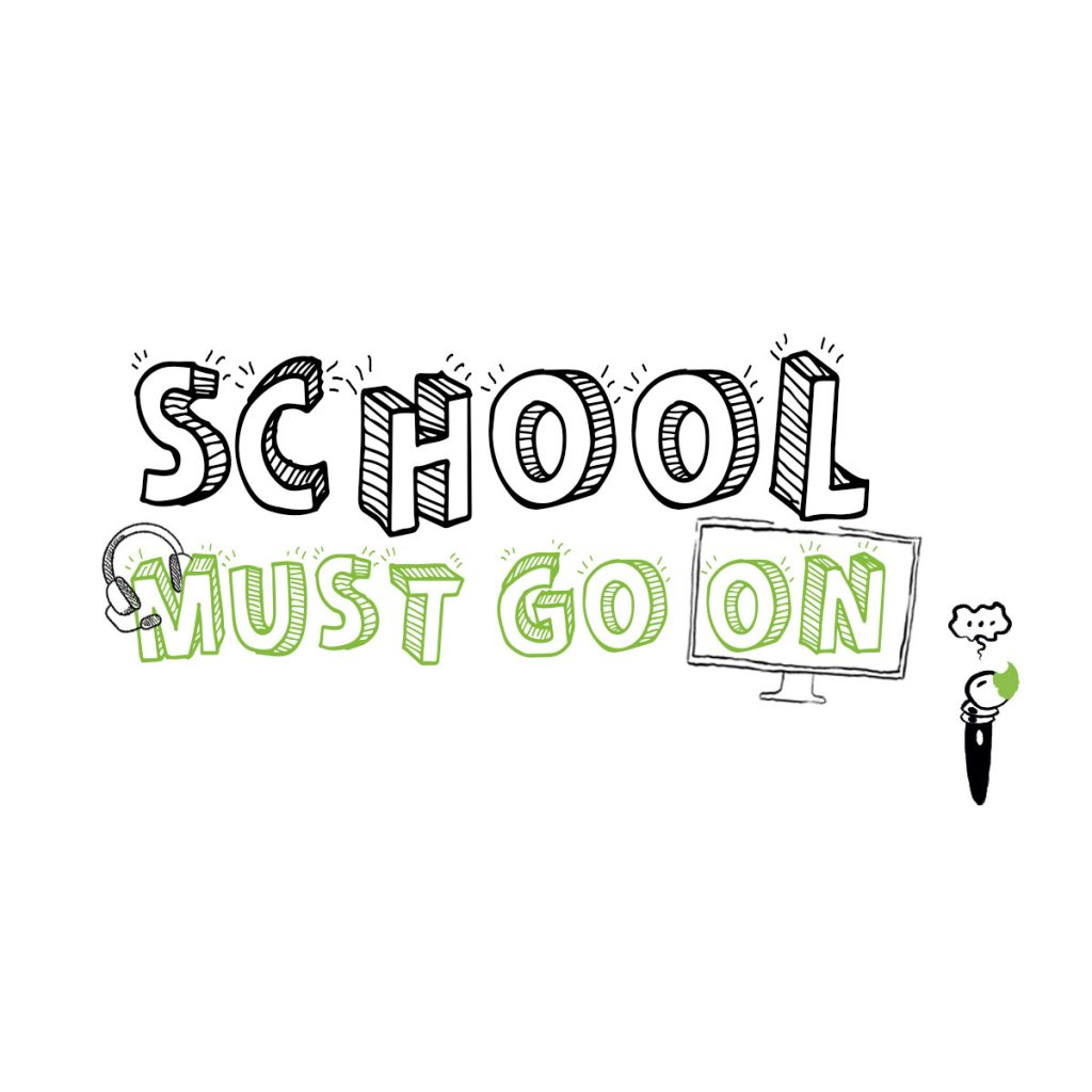 School Must Go On Vignette Fond Blanc Carr